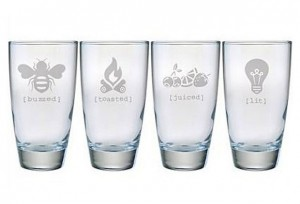 Susquehanna Glass is a premier provider of decorated personalized products. 4 assorted 18 oz. highball glasses, sourced on line at One Kings Lane.  All products are decorated in Columbia, Pennsylvania.